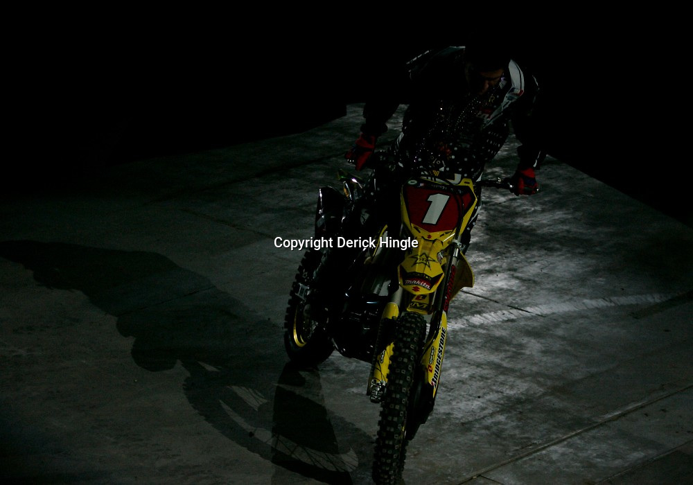 14 March 2009: Chad Reeds rides along side the track prior to the start of the  Monster Energy AMA Supercross race at the Louisiana Superdome in New Orleans, Louisiana