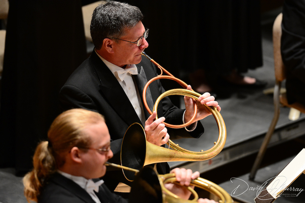 Horn players Richard Menaul (top) and James Hampson perform in Jephtha with the Handel and Haydn Society at Symphony Hall in Boston on May 5, 2013