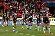 Leeds Rhinos players at a drop out during the Betfred Super League match between Hull Kingston Rovers and Leeds Rhinos at the Lightstream Stadium, Hull, United Kingdom on 29 April 2018. Picture by Mick Atkins.