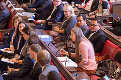 © Licensed to London News Pictures. 22/10/2018. Bristol, UK. Global Parliament of Mayors Annual Summit, 21-23 October 2018, at Bristol City Hall. Picture of LEAH BARBER, widow of Benjamin Barber who established the GPM, taking part in the plenary session on harnessing the power of migration. The Global Parliament of Mayors 2018 is the biggest and most ambitious Annual Summit to date. GPM Bristol 2018 will host up to 100 global mayors for an action-focused summit that addresses some of the biggest challenges facing today's world cities. GPM Bristol 2018's theme, Empowering Cities as Drivers of Change, will focus minds on global governance and the urgent need for the influence, expertise and leadership of cities to be felt as international policy is shaped. GPM Bristol 2018 will provide mayoral delegates with a global network of connections and a space to develop the collective city voice necessary to drive positive change. The programme will engage participants in decision-making, with panels, debate and voting on priority issues including migration and inclusion, urban security and health, and is a unique chance to influence decisions on the most pressing issues of our time. Photo credit: Simon Chapman/LNP