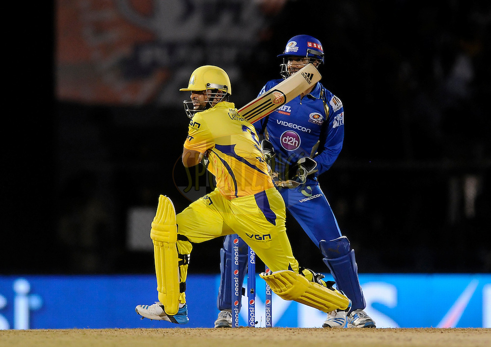 Suresh Raina of The Chennai Superkings bats during the eliminator match of the Pepsi Indian Premier League Season 2014 between the Chennai Superkings and the Mumbai Indians held at the Brabourne Stadium, Mumbai, India on the 28th May  2014<br /> <br /> Photo by Pal PIllai / IPL / SPORTZPICS<br /> <br /> <br /> <br /> Image use subject to terms and conditions which can be found here:  http://sportzpics.photoshelter.com/gallery/Pepsi-IPL-Image-terms-and-conditions/G00004VW1IVJ.gB0/C0000TScjhBM6ikg