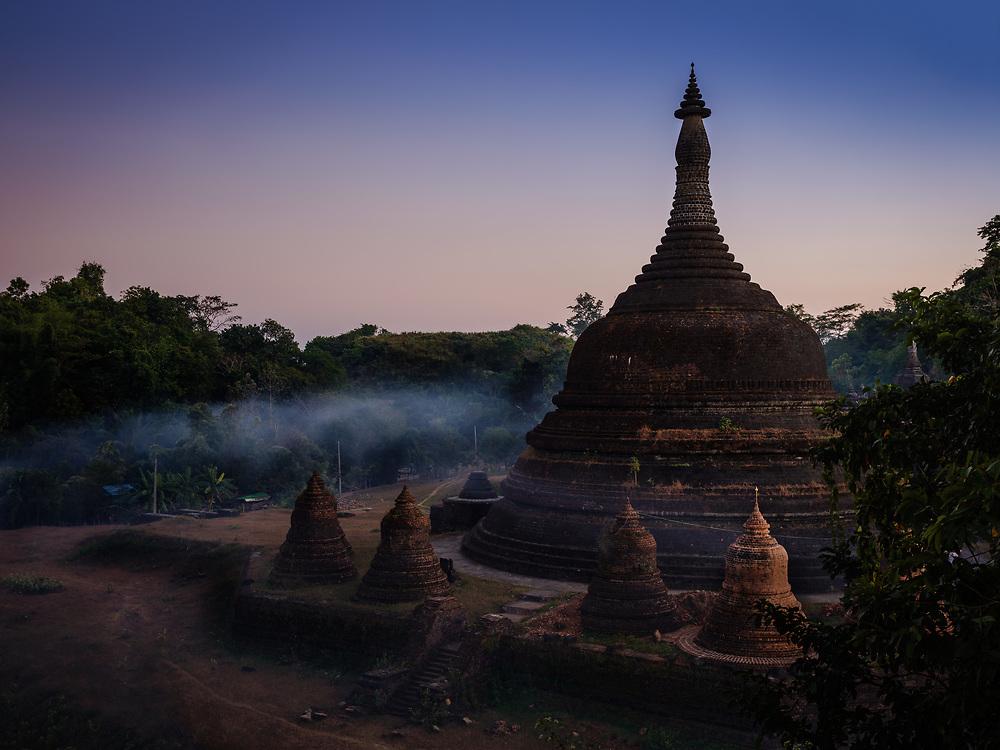 MRAUK U, MYANMAR - CIRCA DECEMBER 2017: Andaw-Thein Temple Stupa at Sunset In Mrauk U, Rakhine State.