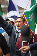 DEPUTY Leader of Britan First Jayda Fransen appears to stick some thing up her nose<br /> <br /> <br /> <br /> BIRMINGHAM 24.06.2017 Members of the group Britain First hold demo in Birminghamn city centre this afternoon. They were  met by a counter protest  from members of UAF both groups spent the best part of  few hours shouting abuse at each other. There were a  few scuffles and police used dogs to control both side