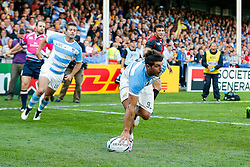 Argentina Scrum-Half Tomas Cubelli scores a try - Mandatory byline: Rogan Thomson/JMP - 07966 386802 - 25/09/2015 - RUGBY UNION - Kingsholm Stadium - Gloucester, England - Argentina v Georgia - Rugby World Cup 2015 Pool C.