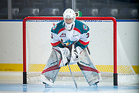 KELOWNA, CANADA - SEPTEMBER 2: Goalie Brodan Salmond #31 of the Kelowna Rockets stands in net during warm up against the Victoria Royals on September 2, 2017 at Prospera Place in Kelowna, British Columbia, Canada.  (Photo by Marissa Baecker/Shoot the Breeze)  *** Local Caption ***