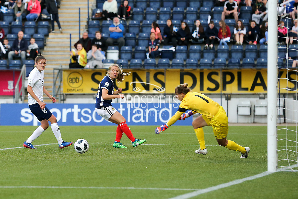 Fiona Brown (#20) of Scotland watches as Natalia Voskobovich (#1) of Belarus saves her volley during the FIFA Women's World Cup UEFA Qualifier match between Scotland Women and Belarus Women at Falkirk Stadium, Falkirk, Scotland on 7 June 2018. Picture by Craig Doyle.