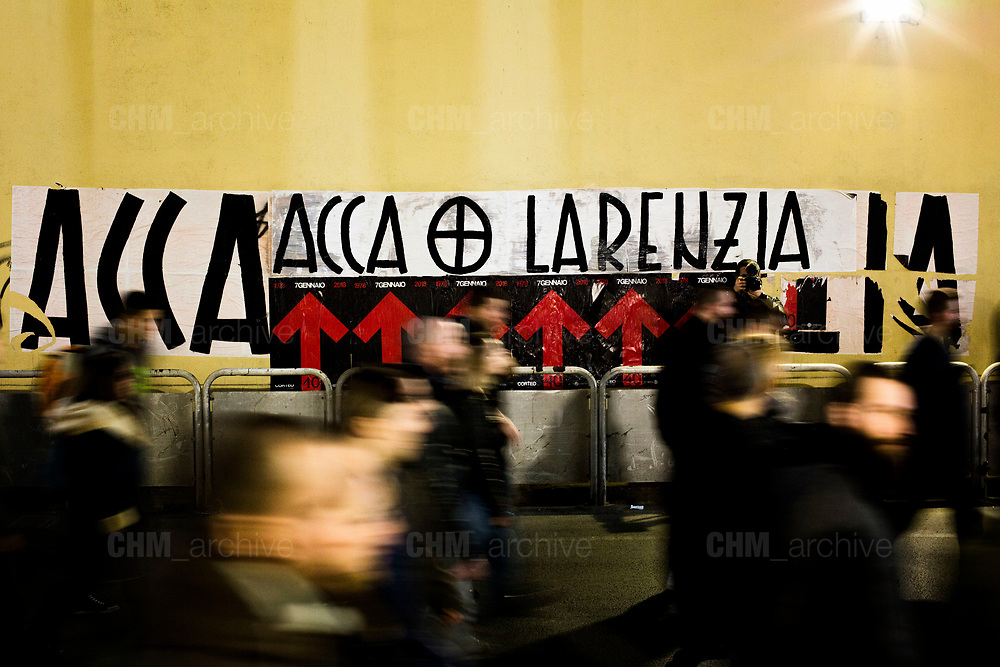 Italian fascist party CasaPound activists take part in the parade commemorating the 40th anniversary of the massacre of Acca Larentia, where three MSI activist were killed, on January 07, 2018 in Rome. Christian Mantuano / OneShot<br /> <br /> Commemorazione per i 40 anni dalla strage di Acca Larentia, dove vennero uccisi dei militanti del Fronte della Giovent&ugrave; davanti la sede del Movimento Sociale Italiano, Roma 07 Gennaio 2018. Christian Mantuano / OneShot