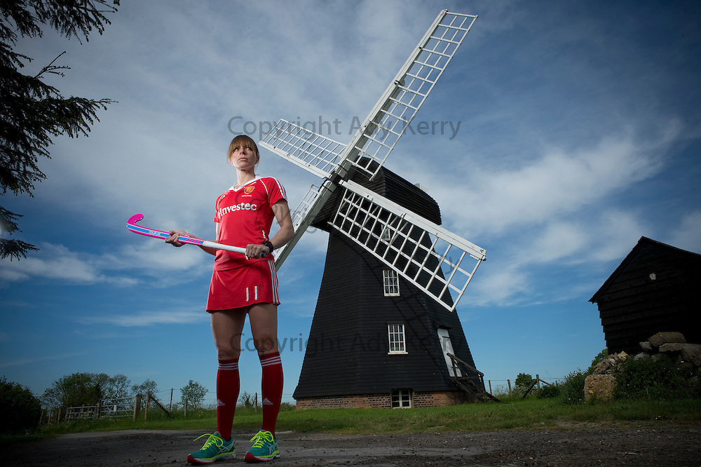 England hockey captain Kate Richardson-Walsh at Lacey Green Windmill to promote Englands involvement in the Rabobank Hockey World Cup which will be held in the Hague, Netherlands, later this month, 21st May 2014.