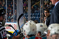 KELOWNA, CANADA - FEBRUARY 15:  Kelowna Rockets' equipment manager Chaydyn Johnson stands on the bench against the Everett Silvertips on February 15, 2019 at Prospera Place in Kelowna, British Columbia, Canada.  (Photo by Marissa Baecker/Shoot the Breeze)