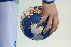 Official Euro 2018 Ball during handball match between National teams of Slovenia and Germany on Day 4 in Preliminary Round of Men's EHF EURO 2018, on January 15, 2018 in Arena Zagreb, Zagreb, Croatia. Photo by Mario Horvat / Sportida