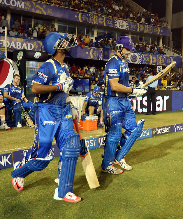 Rajasthan Royals player Ajinkya Rahane and Rajasthan Royals captain Shane Watson opening batsman of Rajasthan Royals during match 22 of the Pepsi IPL 2015 (Indian Premier League) between The Rajasthan Royals and The Royal Challengers Bangalore held at the Sardar Patel Stadium in Ahmedabad , India on the 24th April 2015.<br /> <br /> Photo by:  Sandeep Shetty / SPORTZPICS / IPL