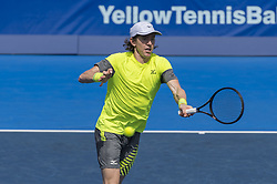 February 22, 2018 - Delray Beach, FL, United States - Delray Beach, FL - February 22: John-Patrick Smith (AUS) and Nicolas Monroe (USA) defeat the team of Albot/Basilashvili during their second round match at the 2018 Delray Beach Open held at the Delray Beach Tennis Center in Delray Beach, Florida.   Credit: Andrew Patron/Zuma Wire (Credit Image: © Andrew Patron via ZUMA Wire)