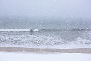 Windswept snow  on the beach, Quogue, Long Island, New York