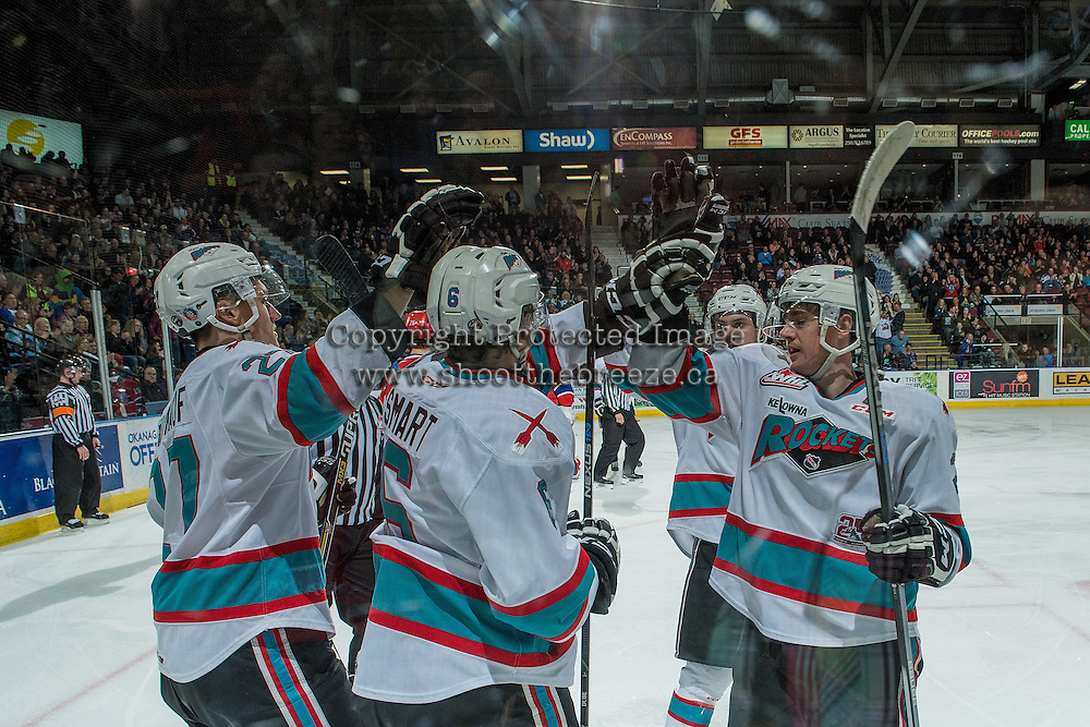 KELOWNA, CANADA - FEBRUARY 27: Jonathan Smart #6 of Kelowna Rockets is congratulated on his second goal of his WHL career against the Spokane Chiefs on February 27, 2016 at Prospera Place in Kelowna, British Columbia, Canada.  (Photo by Marissa Baecker/Shoot the Breeze)  *** Local Caption *** Jonathan Smart;