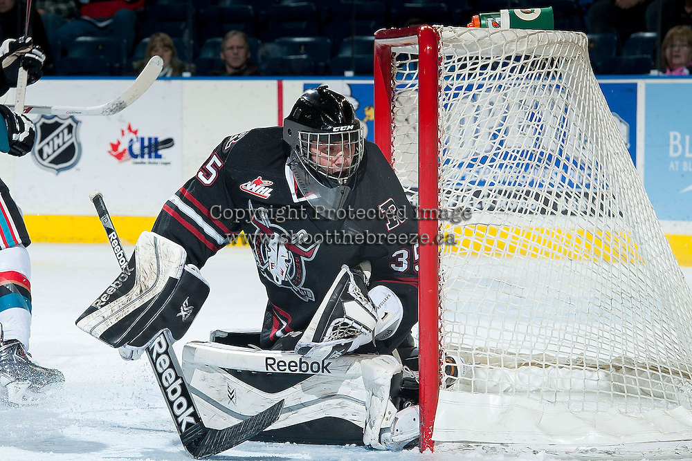 KELOWNA, CANADA -FEBRUARY 5: Patrik Bartosak G #35 of the Red Deer Rebels defends the net against the Kelowna Rockets on February 5, 2014 at Prospera Place in Kelowna, British Columbia, Canada.   (Photo by Marissa Baecker/Getty Images)  *** Local Caption *** Patrik Bartosak;