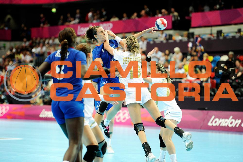 DESCRIZIONE : France Handball Jeux Olympiques Londres <br /> GIOCATORE : AYGLON Camille FRA FERNANDEZ Begona ESP<br /> SQUADRA : France Femme<br /> EVENTO : FRANCE Basket Jeux Olympiques<br /> GARA : FRANCE ESPAGNE<br /> DATA : 30 07 2012<br /> CATEGORIA : Basketball Jeux Olympiques<br /> SPORT : HANDBALL<br /> AUTORE : JF Molliere <br /> Galleria : France JEUX OLYMPIQUES 2012 Action<br /> Fotonotizia : France Handball Femme Jeux Olympiques Londres premier tour France <br /> Predefinita :