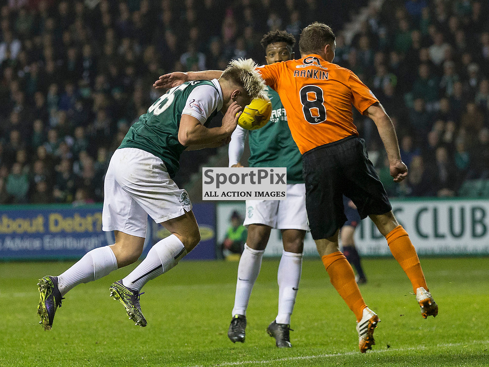 Hibernian FC v Dundee Utd FC<br /> <br /> John Rankin (Dundee United) handles the ball in the box to give away a penalty during the Quarter Final of the Scottish League Cup match between Hibernian and Dundee Utd FC at Easter Road Stadium on Wednesday 4 November 2015.<br /> <br /> Picture Alan Rennie.