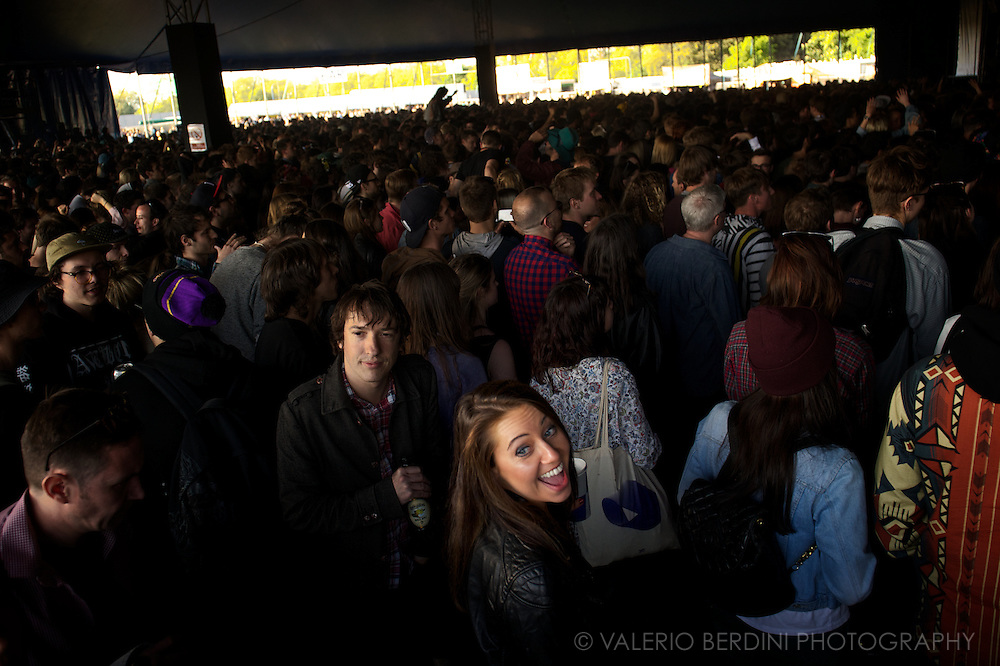 A girl enjoys a gig in one of the tents of Field Day in London in Victoria Park 25 may 2013