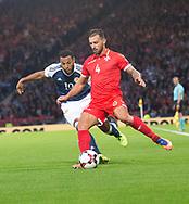 4th September 2017, Hampden Park, Glasgow, Scotland; World Cup Qualification, Group F; Scotland versus Malta; Malta's Steve Borgand Scotland's Matt Phillips