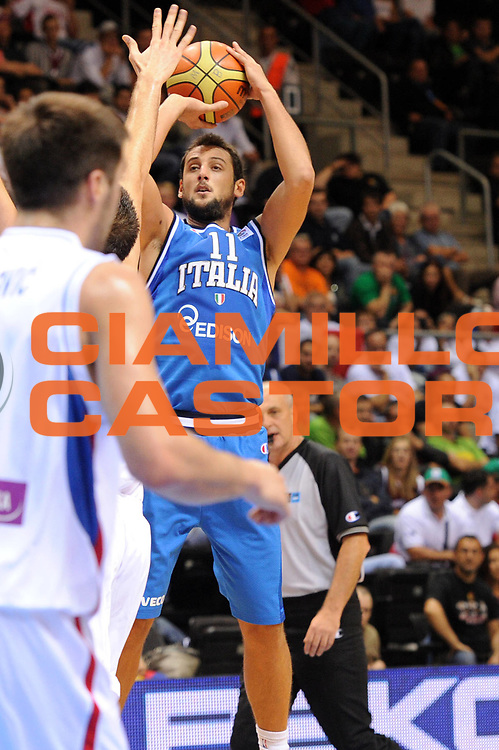 DESCRIZIONE : Siauliai Lithuania Lituania Eurobasket Men 2011 Preliminary Round Serbia Italia Serbia Italy<br /> GIOCATORE : Marco Belinelli<br /> SQUADRA : Italia Italy<br /> EVENTO : Eurobasket Men 2011<br /> GARA : Serbia Italia Serbia Italy<br /> DATA : 31/08/2011 <br /> CATEGORIA : tiro<br /> SPORT : Pallacanestro <br /> AUTORE : Agenzia Ciamillo-Castoria/GiulioCiamillo<br /> Galleria : Eurobasket Men 2011 <br /> Fotonotizia : Siauliai Lithuania Lituania Eurobasket Men 2011 Preliminary Round Serbia Italia Serbia Italy<br /> Predefinita :
