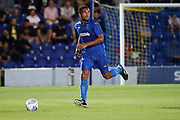 AFC Wimbledon defender Reuben Collins (36) dribbling during the Pre-Season Friendly match between AFC Wimbledon and Bristol City at the Cherry Red Records Stadium, Kingston, England on 9 July 2019.