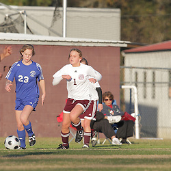 2 December 2008: St. Thomas Aquinas  CC Scherer (#1) during the St. Thomas Lady Falcons 5-2 loss to Country Day in a non-district soccer match at Falcons Soccer Field in Hammond, LA.