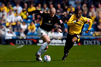 Photo: Alan Crowhurst.<br />Oxford United v Northampton Town. Coca Cola League 2. 22/04/2006. Josh Low (L) attacks for Northampton.