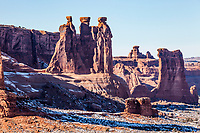 The Three Gossips rock formation and Sheep Rock formation in December, Arches National Park, Utah.