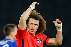 David Luiz of Paris Saint-Germain eggs on the away supporters with his side 2-1 down - Photo mandatory by-line: Rogan Thomson/JMP - 07966 386802 - 11/03/2015 - SPORT - FOOTBALL - London, England - Stamford Bridge - Chelsea v Paris Saint-Germain - UEFA Champions League Round of 16 Second Leg.