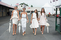 31/07/2014 Repro Free Gabrielle Dunne and Barbara Dunne from Abbeyknockmoy Lorena Dunne from Abbeyknockmoy at the Anthony Ryans Best Dressed Ladies day  at the Galway Races Summer Festival <br />  .Photo:Andrew Downes