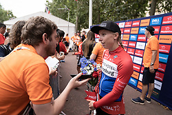 Race winner Lorena Wiebes (NED) of Parkhotel Valkenburg Cycling Team chats to the media after the Prudential RideLondon Classique, a 68 km road race starting and finishing in London, United Kingdom on August 3, 2019. Photo by Balint Hamvas/velofocus.com