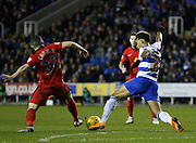 Reading midfielder, Danny Williams battles hard to regain possession  during the Sky Bet Championship match between Reading and Blackburn Rovers at the Madejski Stadium, Reading, England on 20 December 2015. Photo by Andy Walter.