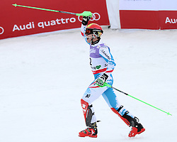 17.02.2013, Planai, Schladming, AUT, FIS Weltmeisterschaften Ski Alpin, Slalom,  Herren, 2. Durchgang, im Bild Marcel Hirscher (AUT, 1. Platz) // 1st place Marcel Hirscher of Austria reacts after 2nd run of mens Slalom at the FIS Ski World Championships 2013 at the Planai Course, Schladming, Austria on 2013/02/17. EXPA Pictures © 2013, PhotoCredit: EXPA/ Martin Huber