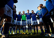 Anxious Rochdale players wait for the Northampton v Oldham result, during the EFL Sky Bet League 1 match between Rochdale and Charlton Athletic at Spotland, Rochdale, England on 5 May 2018. Picture by Paul Thompson.