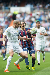 09.04.2016, Estadio Santiago Bernabeu, Madrid, ESP, Primera Division, Real Madrid vs SD Eibar, 32. Runde, im Bild Real Madrid's Pepe and Sociedad Deportiva Eibar's Jota Peleteiro // during the Spanish Primera Division 32th round match between Real Madrid and SD Eibar at the Estadio Santiago Bernabeu in Madrid, Spain on 2016/04/09. EXPA Pictures © 2016, PhotoCredit: EXPA/ Alterphotos/ Borja B.Hojas<br /> <br /> *****ATTENTION - OUT of ESP, SUI*****