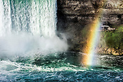 Horse Shoe Falls and rainbow, Niagara Falls, Canada.