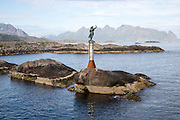 Fisherman's wife statue at harbour entrance, Svolvaer, Lofoten Islands, Nordland,  Norway