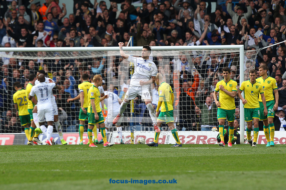 Pablo Hernandez of Leeds United celebrates scoring his sides 3rd goal from a free kick during the Sky Bet Championship match at Elland Road, Leeds<br /> Picture by Paul Chesterton/Focus Images Ltd +44 7904 640267<br /> 29/04/2017