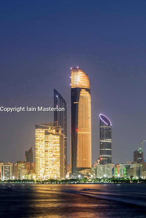 Night skyline along Corniche in Abu Dhabi in United Arab Emirates UAE