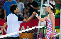 October 10, 2018 - Luksika Kumkhum of Thailand & Alize Cornet of France at the net after their second-round match at the 2018 Prudential Hong Kong Tennis Open WTA International tennis tournament (Credit Image: © AFP7 via ZUMA Wire)