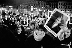 Prague, 19 December 1989 - in front of the Federal Assembly.The Eighteenth Joint Session of both houses of the Federal Assembly of the Czechoslovak Socialist Republic; Czechoslovaks demand that deputies elect Vaclav Havel President.