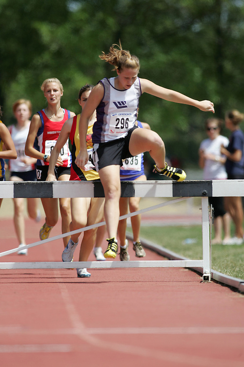 Rachel Lamb competing in the steeple chase at the 2007 OTFA Supermeet II. The Ontario Track and Field Association Bantam-Midget-Juvenile Championships were held in Toronto from August 3rd to 5th.