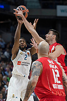 Real Madrid Chasson Randle and Crvena Zvezda XXX during Turkish Airlines Euroleague match between Real Madrid and Crvena Zvezda at Wizink Center in Madrid, Spain. December 01, 2017. (ALTERPHOTOS/Borja B.Hojas)