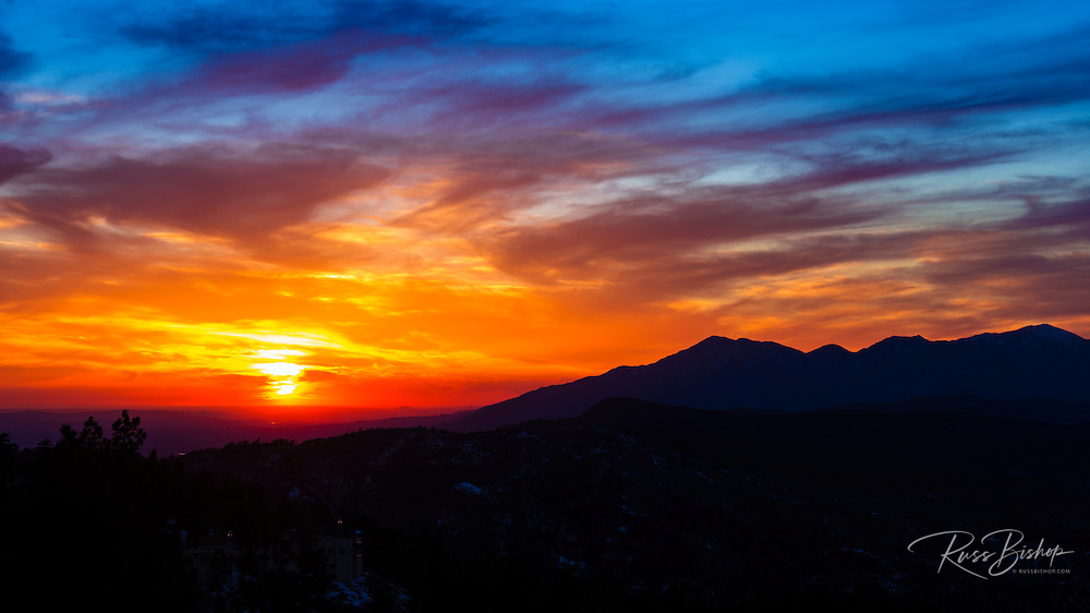 Sunset over the San Bernardino Mountains, San Bernardino National Forest, California USA