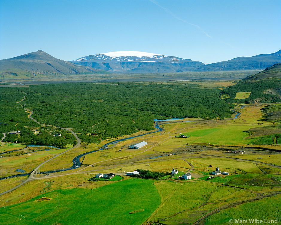 Húsafell séð til austurs, Eiríksjökull, Borgarbyggð áður Hálsahreppur / Husafell viewing east, Eiriksjokull glacier, Borgarbyggd former Halsahreppur.