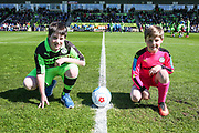 The two mascots with the match ball  during the Vanarama National League match between Forest Green Rovers and Maidstone United at the New Lawn, Forest Green, United Kingdom on 22 April 2017. Photo by Shane Healey.
