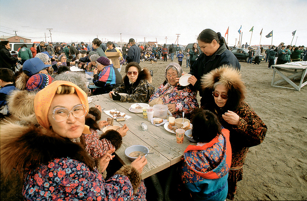 Barrow, Alaska, Native Alaskans enjoying the annual summer festival of Nakutak in Barrow