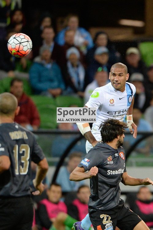 Patrick Kisnorbo of Melbourne City, Thomas Broich of Brisbane Roar FC - Hyundai A-League, March 18th 2016, ROUND 24 - Melbourne City FC v Brisbane Roar FC in a 3:1 win to City after a slow first half at Aami Park, Melbourne Australia. © Mark Avellino | SportPix.org.uk