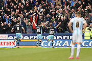 Sheffield Wednesday striker Fernando Forestieri (45) scores a goal and celebrates to make the score 0-1 during the Sky Bet Championship match between Huddersfield Town and Sheffield Wednesday at the John Smiths Stadium, Huddersfield, England on 2 April 2016. Photo by Simon Davies.