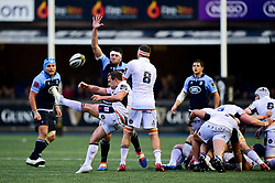 Nic Groom of Edinburgh Rugby clears the ball with a box kick - Mandatory by-line: Ryan Hiscott/JMP - 05/10/2019 - RUGBY - Cardiff Arms Park - Cardiff, Wales - Cardiff Blues v Edinburgh Rugby - Guinness Pro 14